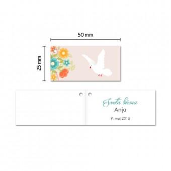 Kartončki za konfete - golob - rožnata