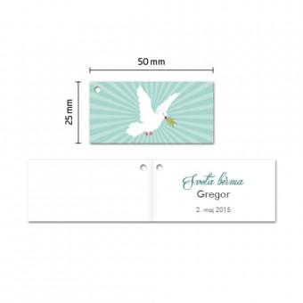 Kartončki za konfete - golob - zelena