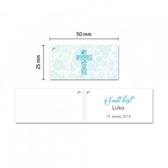 Kartončki za konfete - križ - turkizna