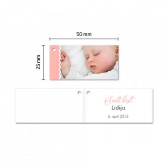 Personalizirani kartončki za konfete - prtiček - rožnata