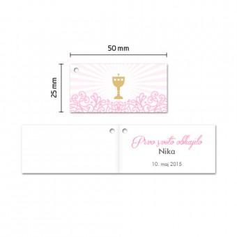 Kartončki za konfete - kelih - rožnata