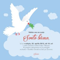 Vabilo za birmo - golob med oblaki