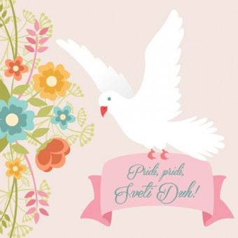 Vabilo za birmo - golob - rožnata