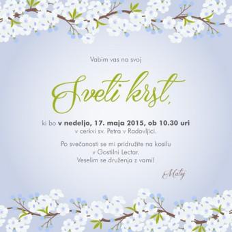 Vabilo za krst - češnjevi cvetovi - modra