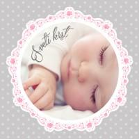 Personalizirano vabilo za krst - čipka - rožnata