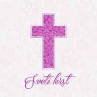 Vabilo za krst - križ - vijolična