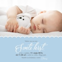 Personalizirano vabilo za krst - prtiček - modra