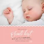 Personalizirano vabilo za krst - prtiček - rožnata