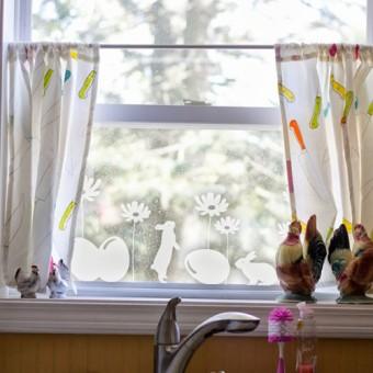 Dekorativna nalepka za steklo - velikonočni zajčki