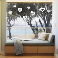 Dekorativna nalepka za steklo - viseči srčki