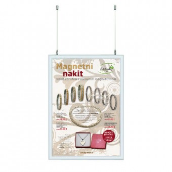 Dvostranski viseči klip okvir z dvema plakatoma 70 x 100 cm