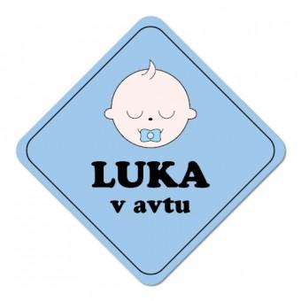 Nalepka / magnetna tablica Otrok v avtu, modra