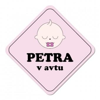 Nalepka / magnetna tablica Otrok v avtu, rožnata