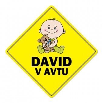 Nalepka / magnetna tablica Otrok v avtu, rumena
