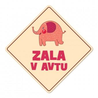 Nalepka / magnetna tablica Otrok v avtu, slon