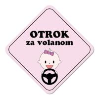 Nalepka / magnetna tablica Otrok za volanom, rožnata