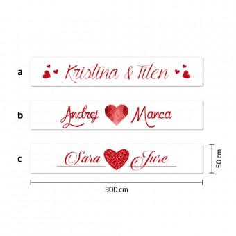 Poročni transparent - imeni ženina in neveste