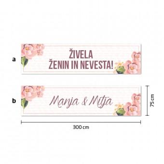 Poročni transparent - cvetje #1