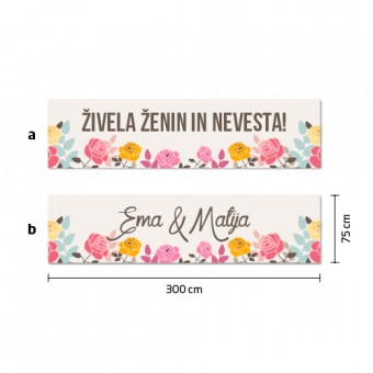 Poročni transparent - vrtnice #2