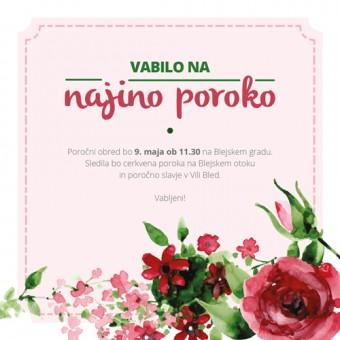 Poročno vabilo - cvetje #3