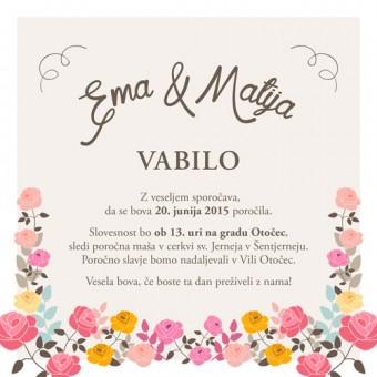 Poročno vabilo - vrtnice #2