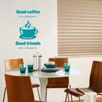 Stenska nalepka Good coffee Good friends