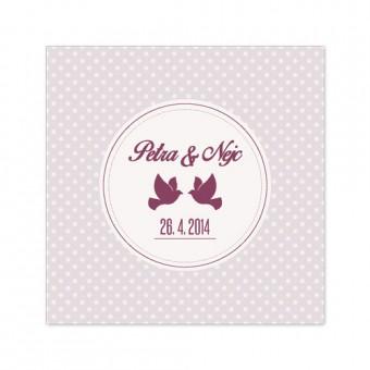 Poročno vabilo - golobčka in pike